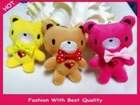 Promotional gift plush toys valentine gift lover's gift bear with bow toys color assorted mobile accessory 8.5cm 20pcs/lot