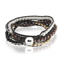 Free Shipping Classica glass Beads On Black Leather 5X Wrap Bracelet, Trendy Bracelet