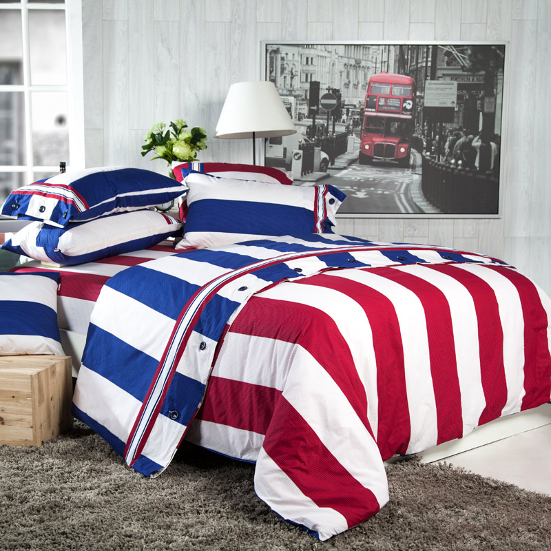 12-free shipping Quality 100% flat cotton stripe bedding four piece set british style gift box packaging(China (Mainland))