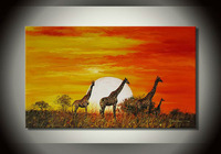 Giraffe sunset landscape oil painting, the African grasslands handmade oil painting, abstract art decoration painting