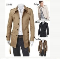 Free Shipping Mens Slim Fit Front Button Stylish Trench Coat Jacket 4Color 4size [07-4005]]