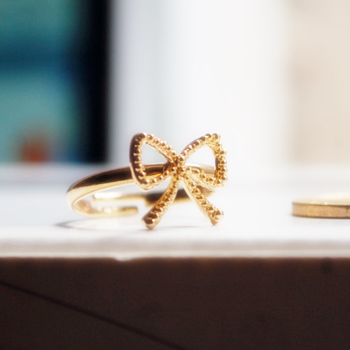 Open ring bow ring female small accessories birthday present for girlfriend gifts(China (Mainland))