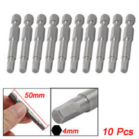 Magnetic 4mm Tip 6.3mm Shank Diameter Hex Screwdriver Bits 10 Pcs