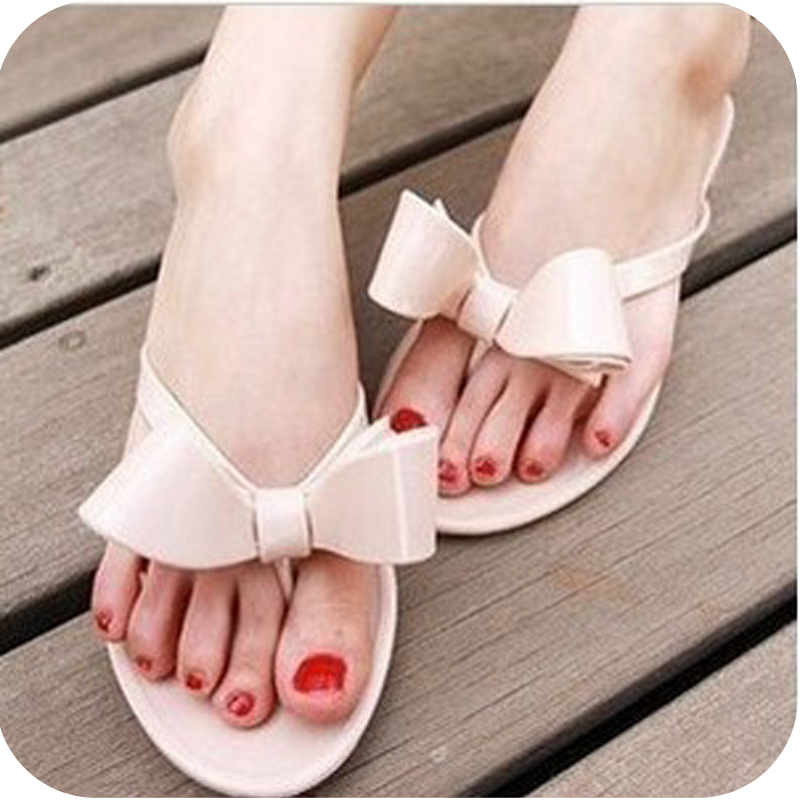 nude flip flops flat flip-flop flat bow nude color jelly sandals female slippers(China (Mainland))