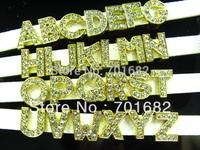 1300pcs 8mm Golden Slide letters DIY charms Fit Pet Collars Wristbands Belts