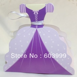100 Princess Rapunzel Dress Shaped Favor Boxes Gown Dress Wedding FAVORS Gift Boxes Girl Birthday Bridal Shower Party Favors(China (Mainland))