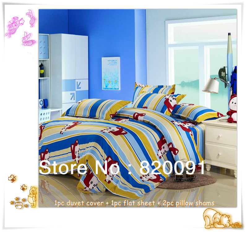 For Children ! 4PCS Cheap Cartoon Lovely Ali Bedding Bed Sets Doona Duvet Cover Set For Full/Queen Bed, Aloe Fibre, Blue(China (Mainland))