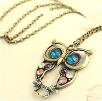 Min.order is $10(mix order) Free Shipping Vintage Bronze Owl Pendent Necklace,Owl Necklace Fashion Jewelry,Sweater Chain HWN4249