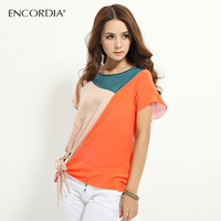 Perfect 2013 women's three-color chiffon short-sleeve shirt rhinestones patchwork chiffon shirt e3204a