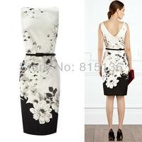 2014 New Arrival Summer Ink Print BIG Flower Elegant Pencil Dress With Belt Stamp Slim Sundress Women's Vestido Plus Size Dress