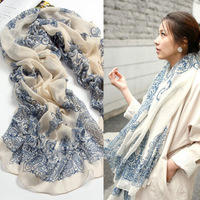 scarves Vintage blue and white porcelain fluid  spring and autumn female silk  cape magicaf  silk  scarf