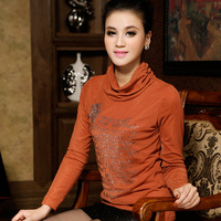 2013 spring plus size slim heap turtleneck rhinestones plus velvet basic shirt t-shirt female top