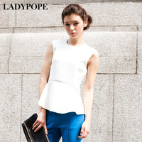 2013 spring fashion t-shirt street ruffle sleeveless white vest