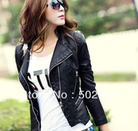Free shipping New style PU leather jacket women's clothes motorcycles coat two color you can choose