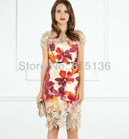 2014 Spring exquisite cutout lace one-piece dress Gorgeous Lacey Trim V back Printed Satin Dress (without a blet)
