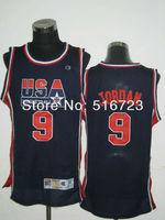 Free ship Olympic Basketball Jersey #9 Michael Jordan Blue white 1992 Olympics Embroidery logos Basketball Jerseys Size:S-XXXL