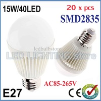 20x Bubble Ball Bulb AC85-265V 15W E27 High power Energy Saving Ball steep light LED