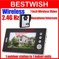DHL Freeshipping Photo memory digital Wireless Video Door Phone/doorphone /Intercom 7 inch 2.4GHz 1 to 1 take photos unlock door