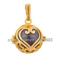 H73-18-C4 Pregnancy 925 sterling silver harmony ball heart pendants with 18K gold plated mexican bolar jingle bell  18*16MM