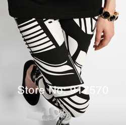 2013 Fashion Lady&#39;s Funky Sexy Leggings Stretchy Black White Line Grid Tight Pencil Skinny Pants Shipping With Tracking Number(China (Mainland))