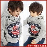 Kids Star Hoodies Long Sleeve Hoody jackets Boys handsome hoodie Tops Children fleece sweatshirt Coat 2-6yrs Free Shipping CD054