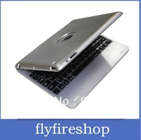 FREE SHIPPING! 10pcs Wireless Bluetooth Keyboard for iPad 2 3 Aluminium Case 4000mAh Charging keyboard case