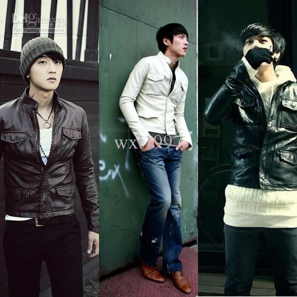 New Men Slim Fit Sexy Style PU Leather Jacket Coat Black Browm White