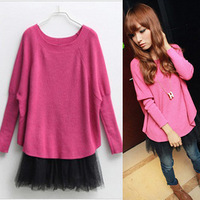 Sweater female loose outerwear 2013 autumn and winter new arrival plus size batwing sleeve basic sweater