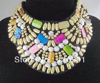 2013 New Arrival Stunning Choker Bib Multicolor Ribbon Flower Handmade Bohemia Wooden Beads Statement Necklaces 2013 for women
