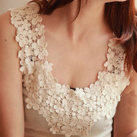 2013 summer cotton thread lace cutout basic small spaghetti strap top basic vest female