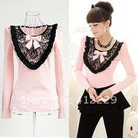 2013 pink lace embroidery patchwork ruffles lovely slim full sleeve young ladies women's T-shirt