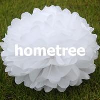 "8"" White Tissue Paper Pom Poms Flowers Home Garden Party Wedding Birthday Bridal Decoration Gift Free Shipping"