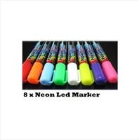 HOT PEN  8 Neon Color LED Blackboard Board Fluorescent Marker Liquid Pen Chalk Set Pack