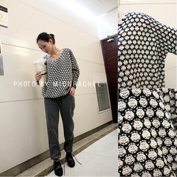 Miourachel fashion batwing sleeve loose V-neck football pattern sweater