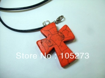 New Arriver Turquoise Jewelry 30mm Natural Semi-Precious Stones Orange Color Cross Turquoise Pendant 18'' Black Rope Necklace