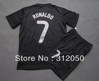 National soccer jerseys 2013 14 Portugal away black jersey football uniform kits #7 Cristiano Ronaldo