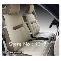 Free shipping. Two front seat cover + rear seat cover. Environmental Protection Leather, Off-white auto seat cover