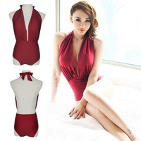 2013 Fashion Ladies Sexy Red Backless Beach One Piece Monokin Swimsuit Swimwear Bikini YY095 YY098