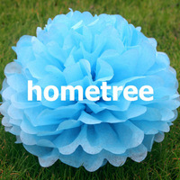 "8"" Blue Tissue Paper Pom Poms Flowers Home Garden Party Wedding Birthday Bridal Decoration Gift Free Shipping"