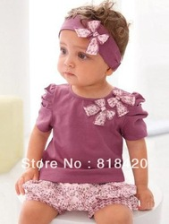 2013 Free Shipping Baby 3Piece Cotton Purple Short-Sleeved T-Shirt Floral Shorts Baby Suits Kids Headband + Top + Short Pants(China (Mainland))