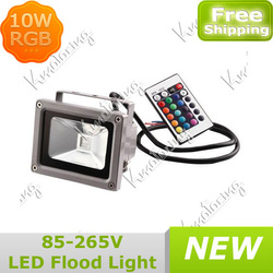 Wholesale 10W LED RGB Color Spotlight Flood Light 85-265V Remote Control Garden Outdoor Ligh Lamp Waterproof Free Shipping(China (Mainland))