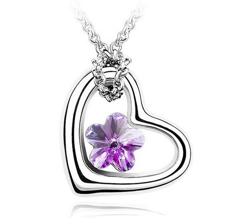 wholesale Plum Crystal Heart Necklace Pendant 505 jewelry factory direct cheap promotional free shipping(China (Mainland))