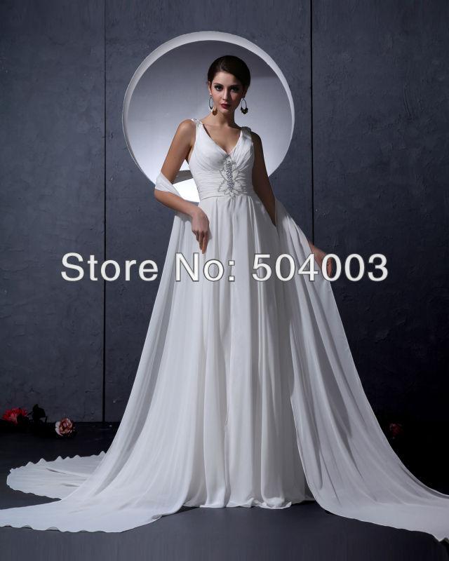 Frete Grátis New Arrival Branco Chiffon V -neck Império Beading preço barato vestido de noiva 2013(China (Mainland))