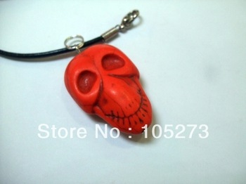 Wholesale Fashion Turquoise Jewelry 25mm Semi-Precious Stones Orange Color Skeleton Turquoise Pendant 18'' Black Rope Necklace