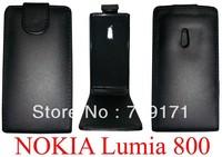 10pcs/lot free ship New Black Shine leather case for Nokia Lumia 800 ,Pouch case , Pouch case  +1pcs film