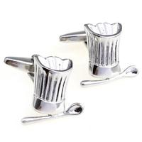 Silver cook cap spoon cufflinks nail sleeve 170118
