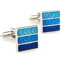 Brief blue square cufflinks nail sleeve 157628