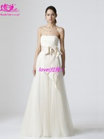 Silky Organza  Scoop New Arrival Sleeveless Strapless  Celebrity Band Appliques Hot Sale  Discount Fashion Bridal Wedding Dress