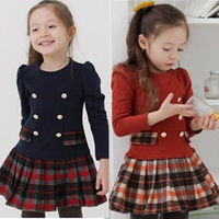 Child clothes 2013 spring and autumn girls clothing princess  plaid preppy style double breasted one-piece