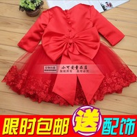 Children's clothing female child autumn and winter 2013 long-sleeve child princess dress one-piece dress red